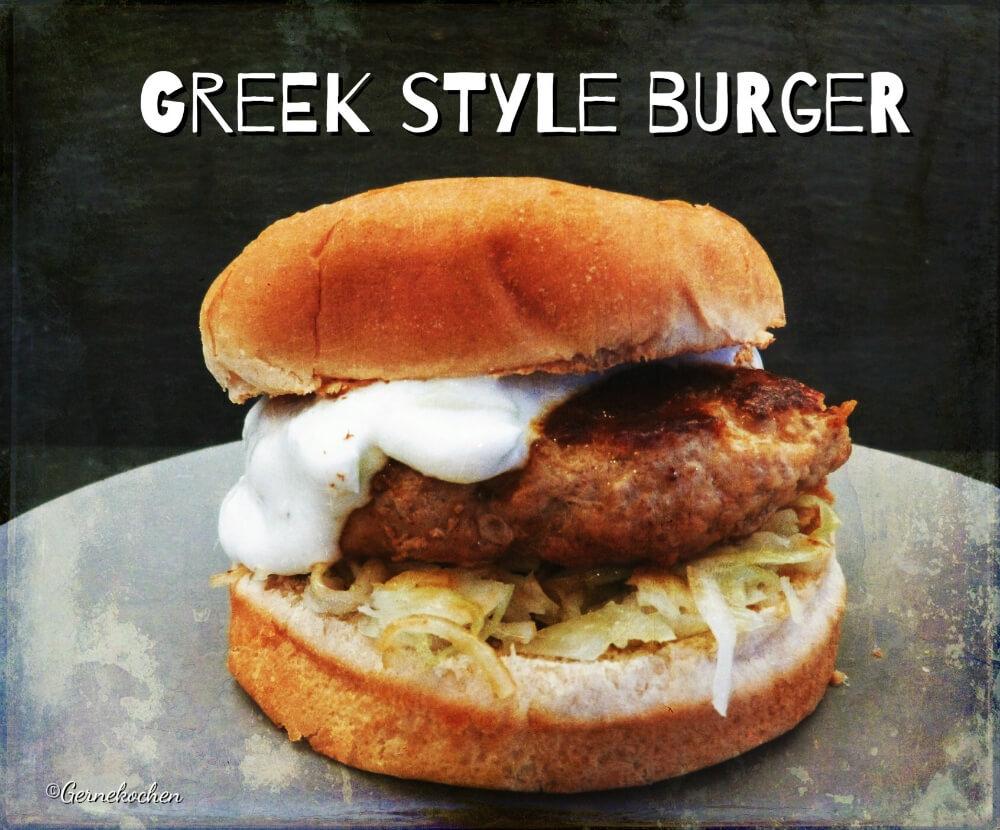 Greek Style Burger mit Krautsalat und Tzatziki
