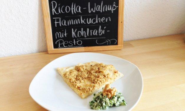 Ricotta-Flammkuchen mit Walnuss- und Kohlrabi-Pesto