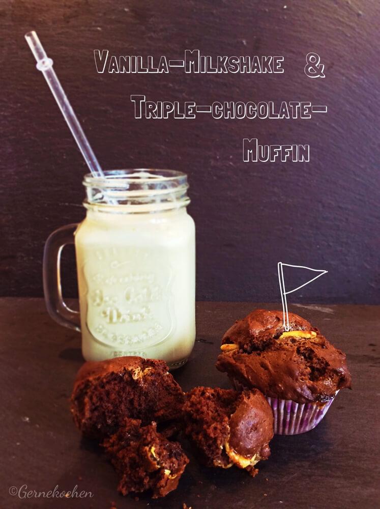 Vanilla-Milkshake und Triple-Chocolate-Muffins