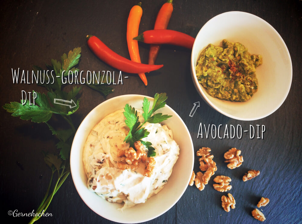 Walnuss-Gorgonzola-Dip & Avocado-Dip