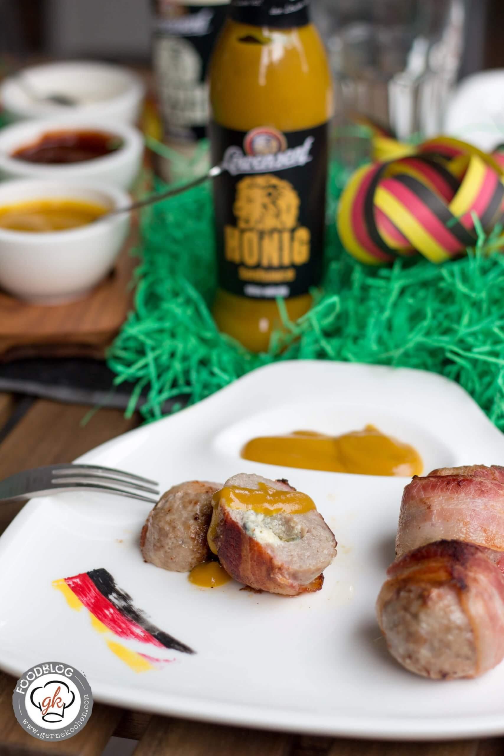 Mini-Fußbälle für den Grill oder Bacon-Wrapped-Balls mit Löwensenf Honig-Senf-Sauce