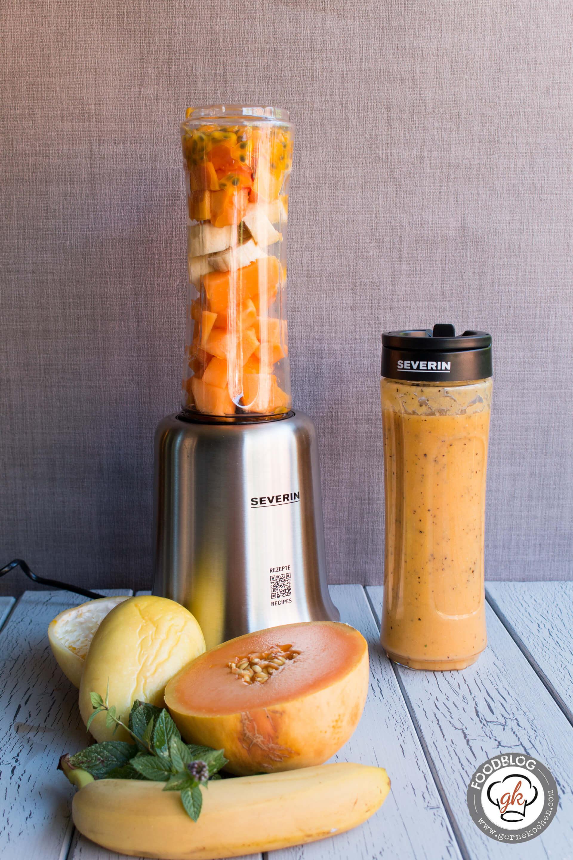 rezept papaya melonen bananen smoothie der sommer im glas. Black Bedroom Furniture Sets. Home Design Ideas