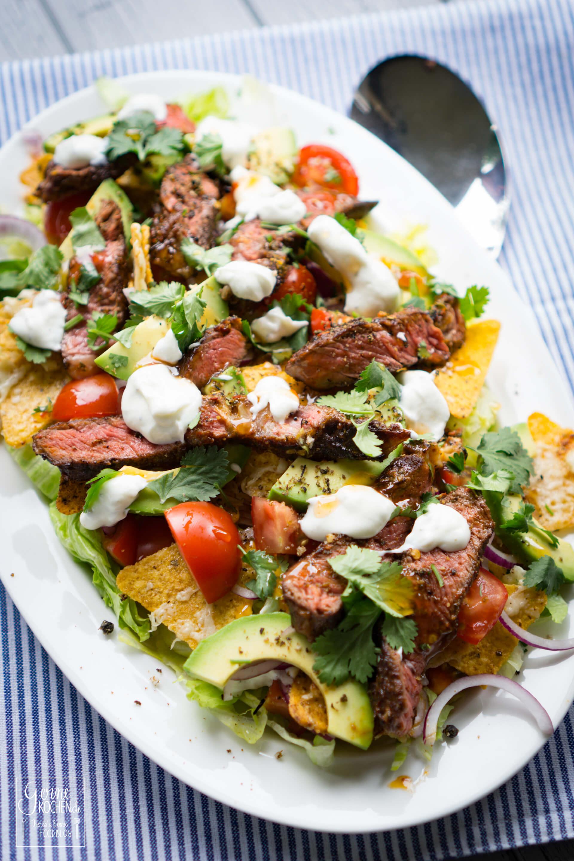 rezept tex mex salat mit nachos und steak. Black Bedroom Furniture Sets. Home Design Ideas