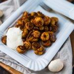 Champignons mit Knoblauchsoße vom Weihnachtsmarkt