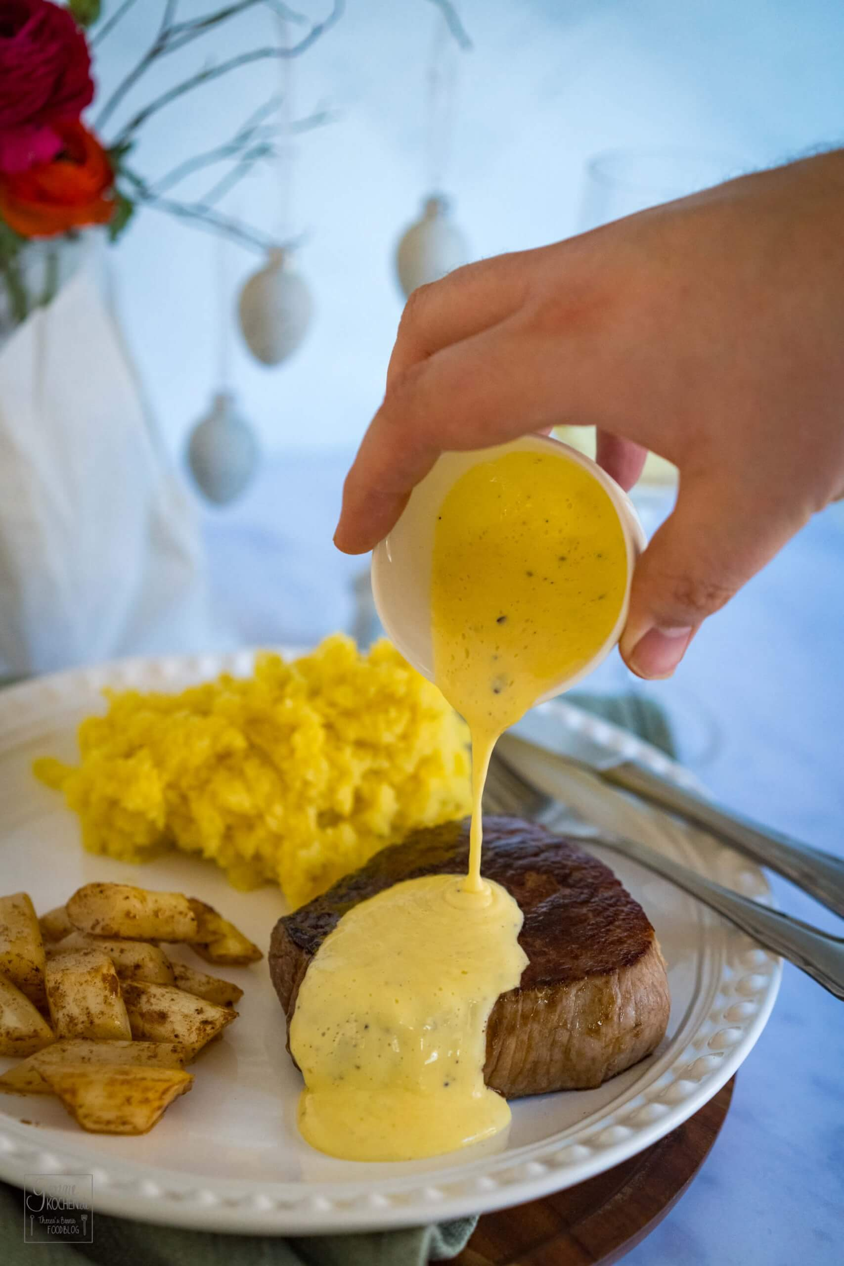 Wagyu Steak mit Spargel und Trüffel-Hollandaise